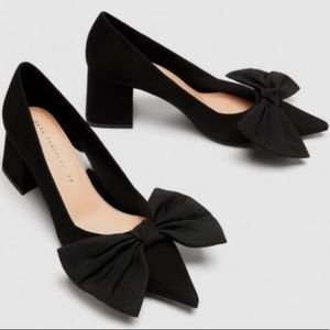 Zara Black Bow Court Shoes Faux Suede Pointed Toe